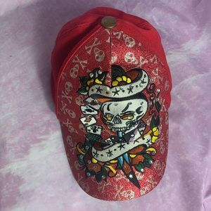 Ed Hardy hat red with skulls